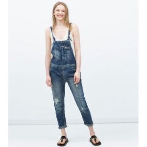Zara TRF Denim Distressed Rigid Jean Overalls XS